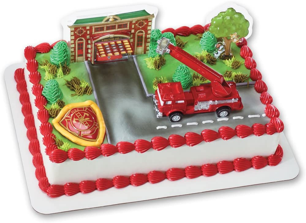 Marvelous Amazon Com Fire Truck And Station Decoset Cake Decoration Toys Birthday Cards Printable Nowaargucafe Filternl