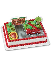 Fire Truck and Station DecoSet Cake Decoration