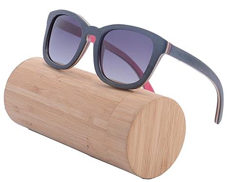 SHINU Holz Sonnenbrillen Frauen Männer Weinlese-Skateboard Wayfarer Glasses Polarisierte Objektiv-Z68006(black-pink, gradient grey)