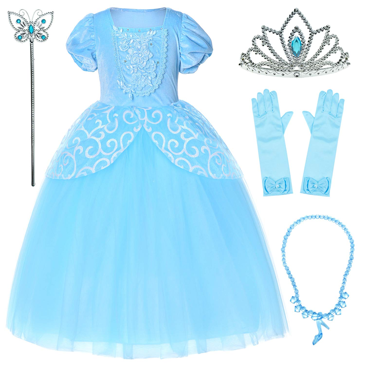 9-layers Tulle Skirt Princess Cinderella Costume Girls Dress Up With Accessories 5T 6T