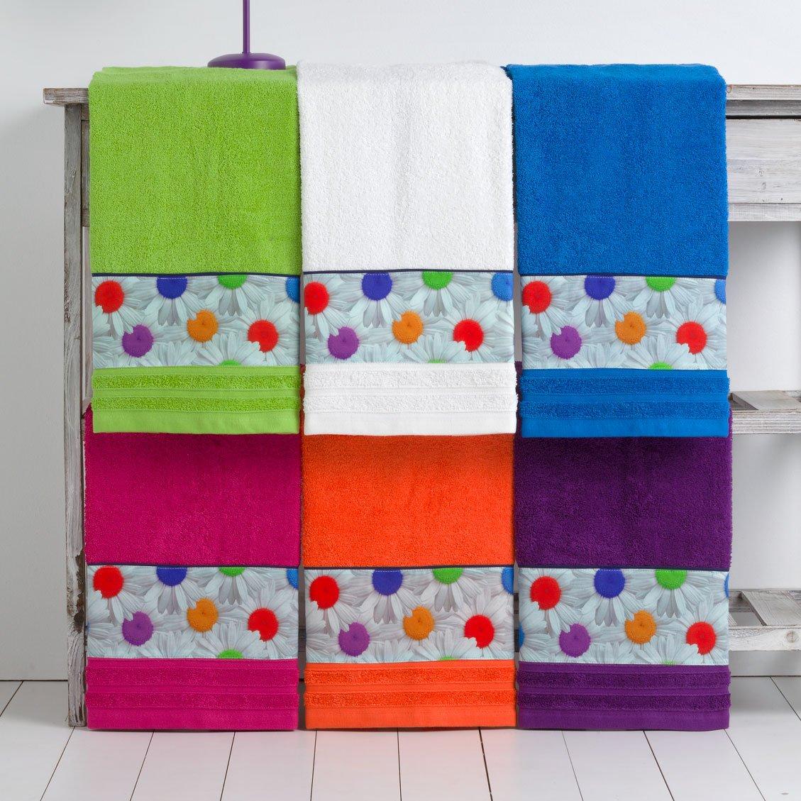 Barceló Hogar 05060060001 Juego 3 toallas con aplique para bidé, lavabo y ducha, modelo Margaritas, rizo americano, blanco: Amazon.es: Hogar