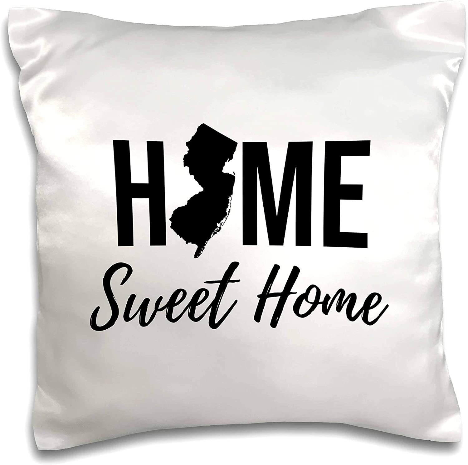 3dRose Stamp City - typography - Home Sweet Home. New Jersey state. White background. - 16x16 inch Pillow Case (pc_324147_1)