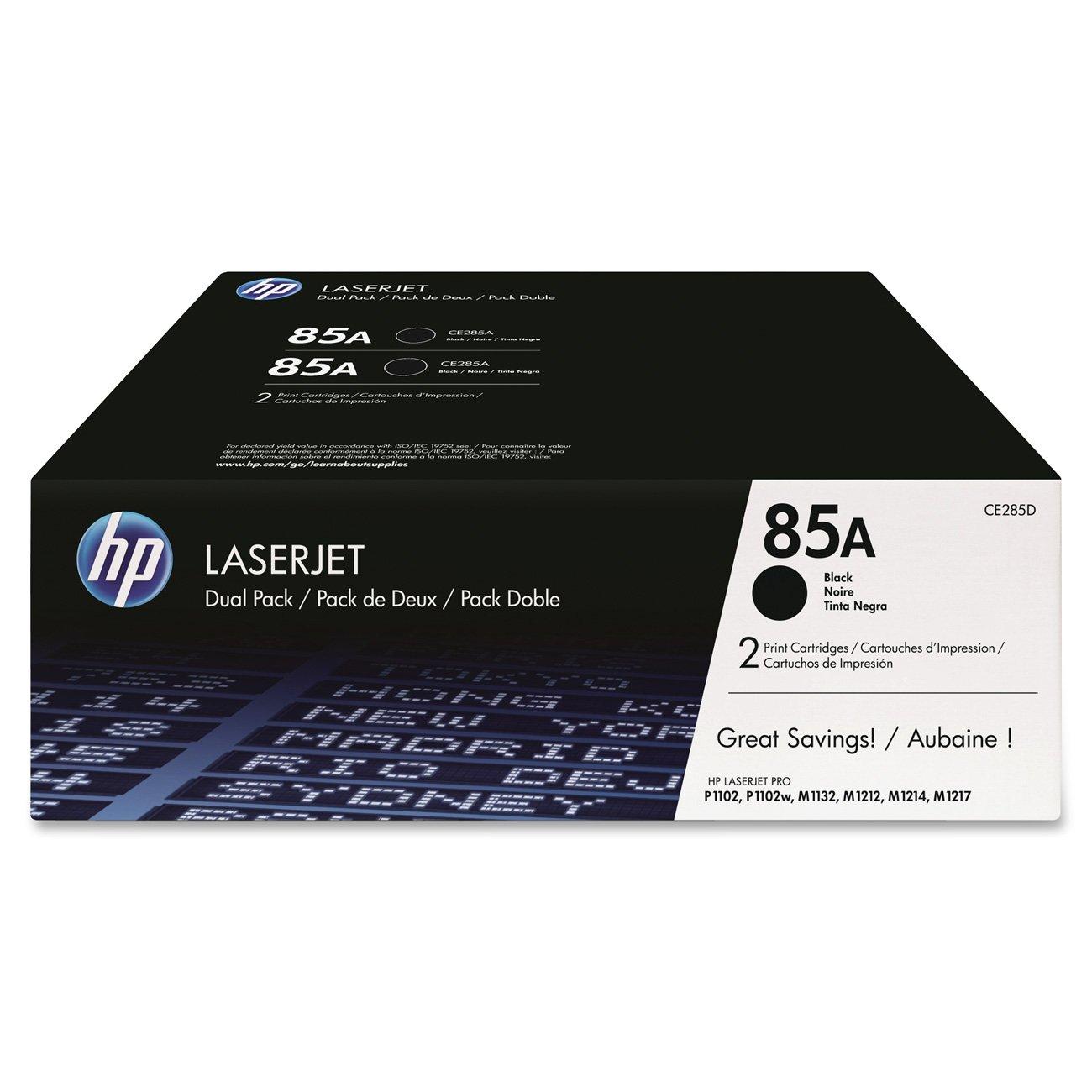 HP 85A (CE285A) Black Toner Cartridge, 2 Toner Cartridges for HP LaserJet Pro M1212nf, M1217nfw, P1102w