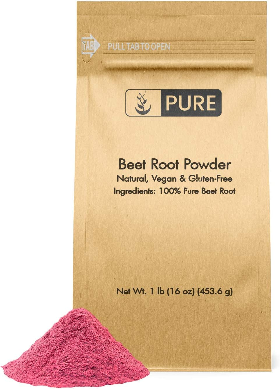 Natural Beet Root Powder, 1lb, 3500 mg Serving, No Fillers, Vegan, Gluten-Free, Naturally Made in USA, Pure & Potent, Beet Root Extract with No Additives, Eco-Friendly Packaging