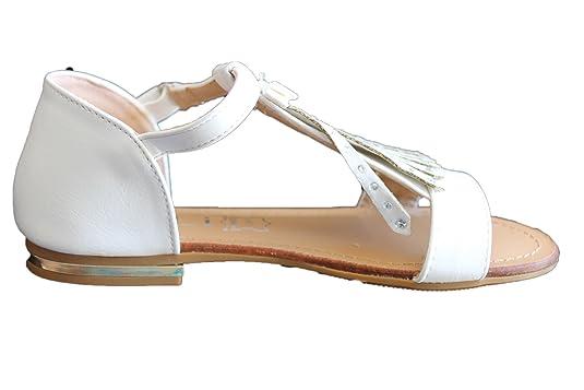 sandale claquette blanche à frange fille 7k05TM