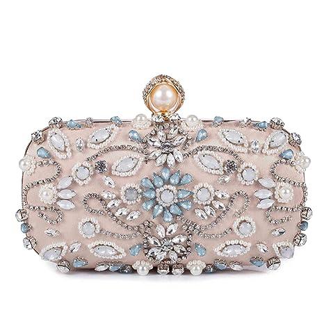 Borsetta da Sera Donna Pochette Cerimonia Elegante Clutch strass Borsa a Tracolla  Catena per Matrimonio Festa c84ca53d90c