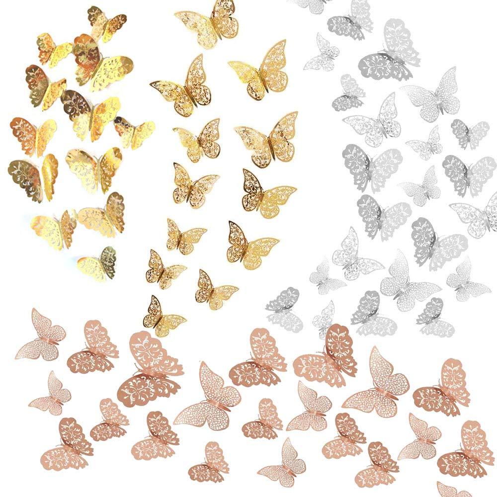 Seasonsky 72 PCS 3D Butterfly Wall Stickers Wall Decal Decor Art Decorations Sticker Removable Hollow Butterfly 3 Sizes for Room Home Classroom Offices Bedroom Decor, Rose Gold, Gold, Silver