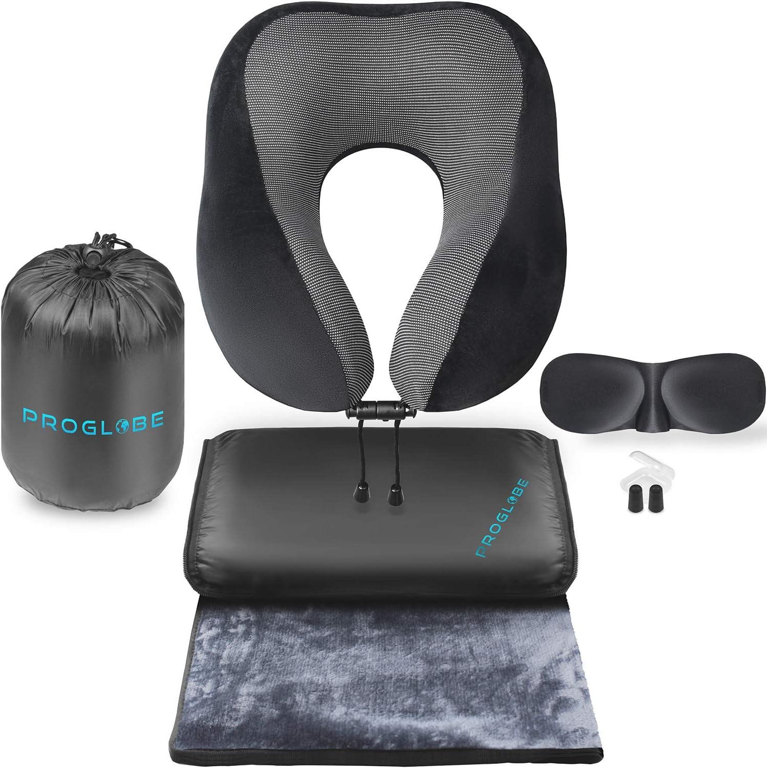 Proglobe Travel Blanket Luxury Travel Set - Ergonomic Airplane Neck Pillow 100% Pure Memory Foam and Super Soft Fleece Blanket - Premium 3D Sleep Mask & Earplugs - Ultimate 4-in-1 Travel Kit Black