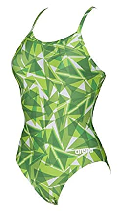decbfff703 Arena Women's Shattered Glass Light Drop Back One Piece Fl Kelly Green 22