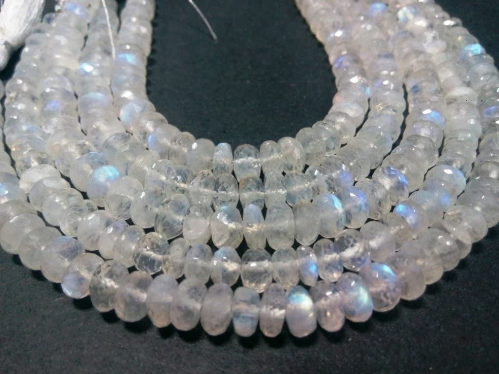 10 Full Strand Natural Rainbow Moonstone Rondelle 7mm to 8mm Rondelles White Moonstone Beads Drilled Gemstone Faceted Gems