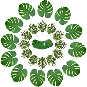 Hecaty 36 Pcs 3 Kinds Artificial Palm Leaves Tropical Plant Faux Leaves Safari Leaves Hawaiian Luau Party Suppliers Decorations,Tiki Aloha Jungle Beach Birthday Table Leave Decorations