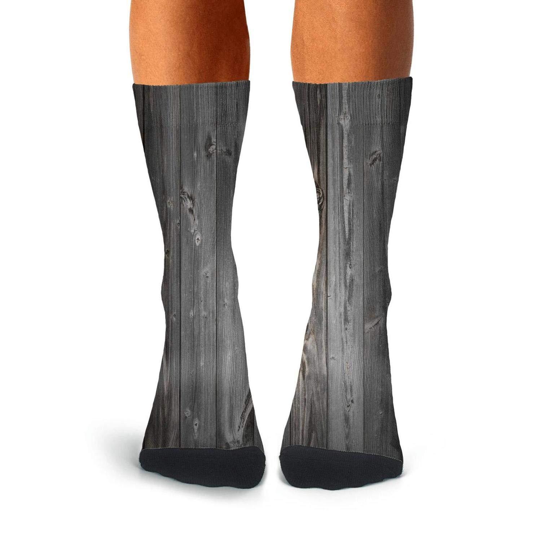 KCOSSH Rustic-Wooden-Farmhouse Unique Calf Socks Funny Crew Sock For Mens Knee High Long Stockings