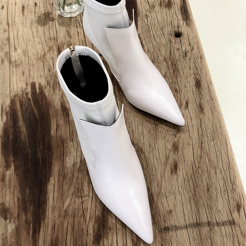 VOCOSI Damen Stiefeletten Stiefeletten Stiefeletten Mid Heel Spitzen Geschlossene Stiefeletten Zip New Style e43d2b