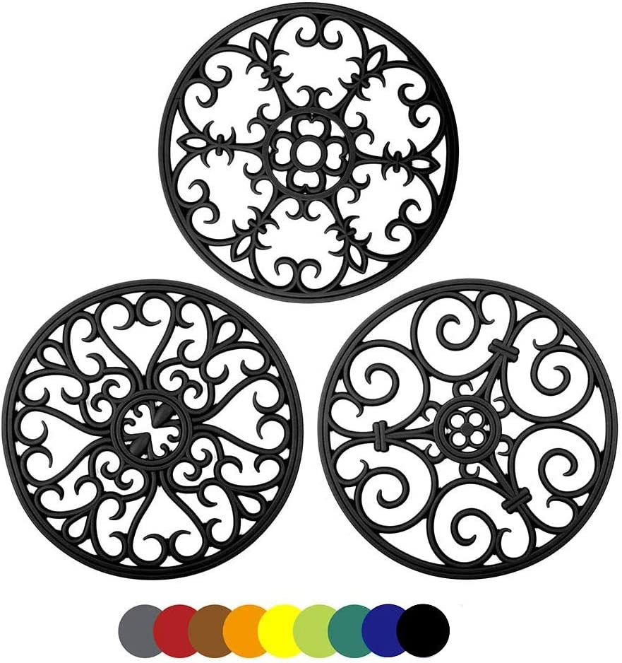 Silicone Trivet Mat - Hot Pot Holder Kitchen Heat Resistant Pad for Pots Pans Dishes Trivets for Counter Table Round Non-Slip Silicone Mat Countertop Protector Set of 3