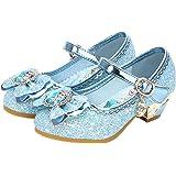 YOSICIL Disfraz Princesa Zapatos Frozen Elsa Zapatos de Lentejuelas Antideslizante Niñas Zapatos de Tacón Velcro…