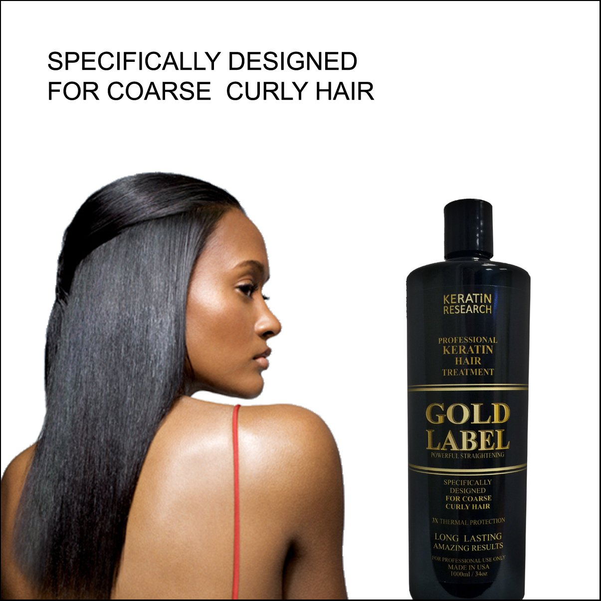 Gold Label Professional Keratin blowout Treatment Super Enhanced Formula Specifically Designed for Coarse Curly Black, african, Dominican and Brazilian Hair types 1000ml by Keratin Research (Image #1)