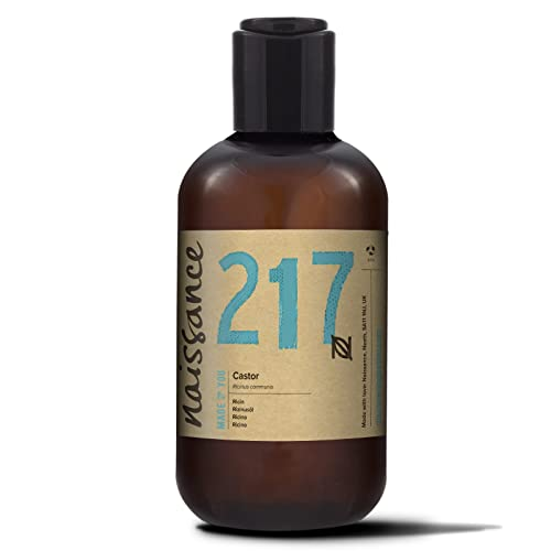 Naissance Cold Pressed Castor Oil (no. 217) 250ml - Pure, Natural, Vegan, Hexane-Free, No GMO - Nourishes and Moisturises Hair, Eyebrows and Eyelashes