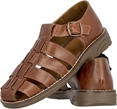 Mens 005 Buckle Style All Real Leather Mexican Huaraches Chedron