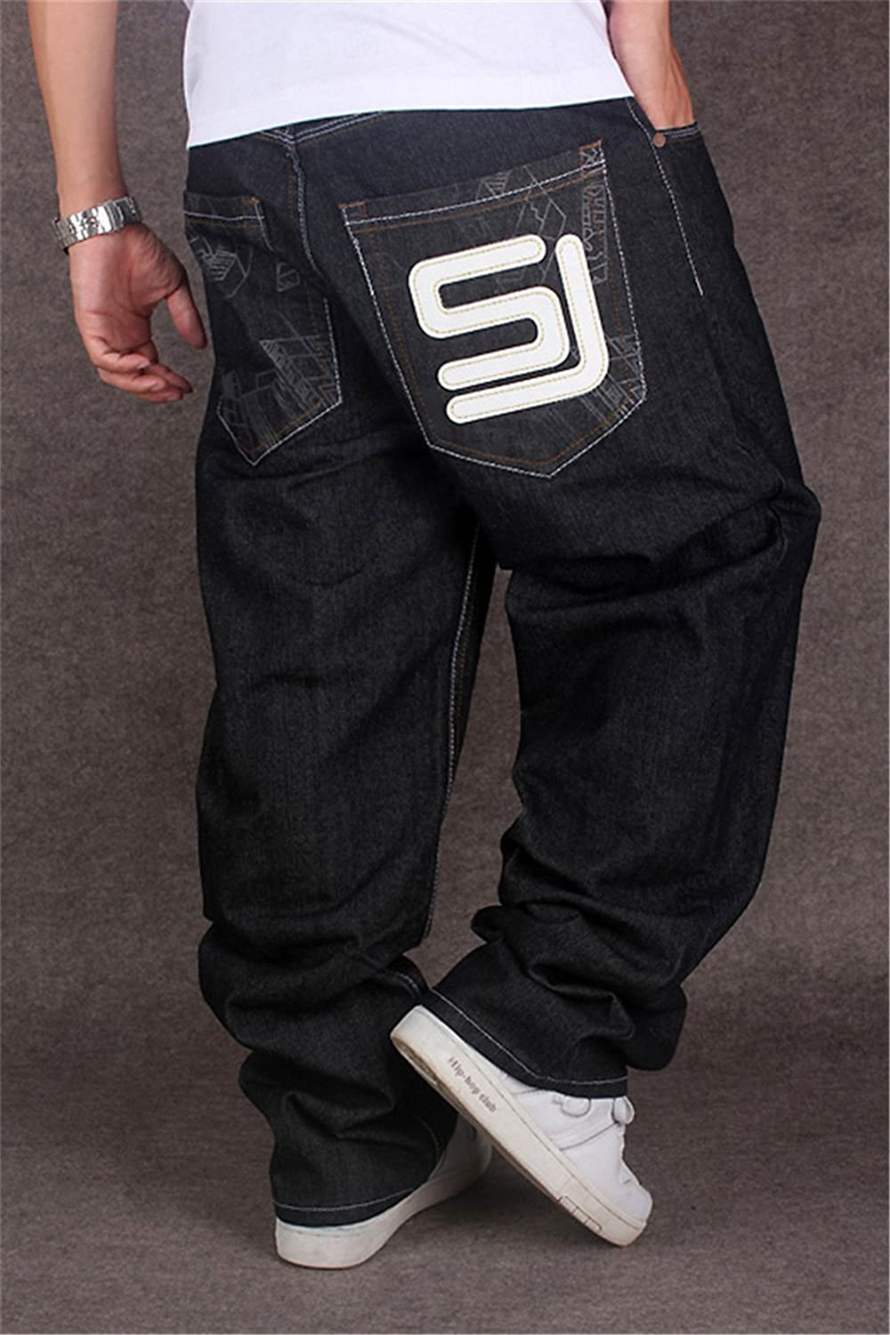 Mrainy Mens Casual Loose Baggy Hiphop Black Jeans