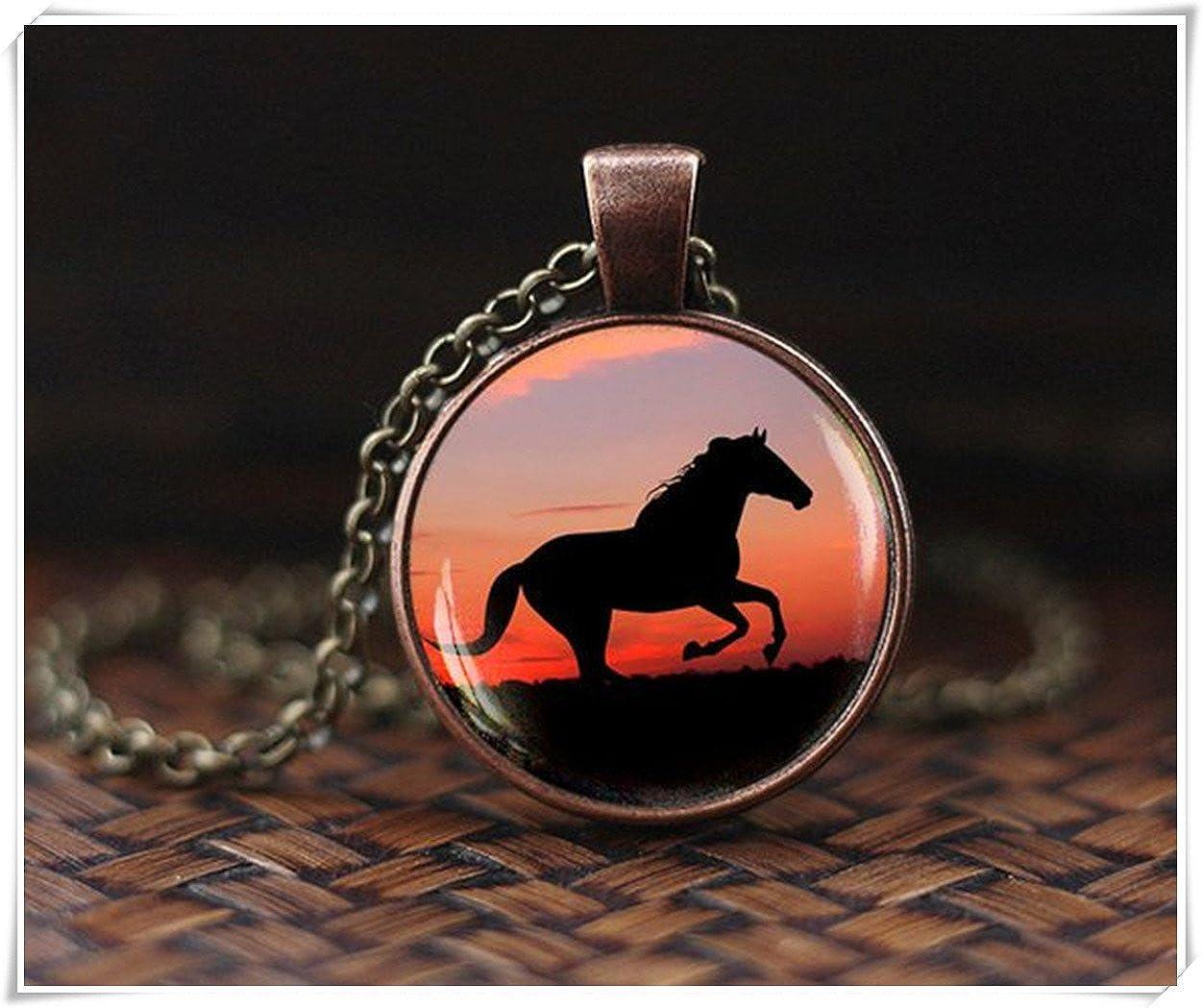 Pendentif cheval Cheval Collier coucher de soleil Bijoux Pendentif /équitation d/ôme en verre Pendentif
