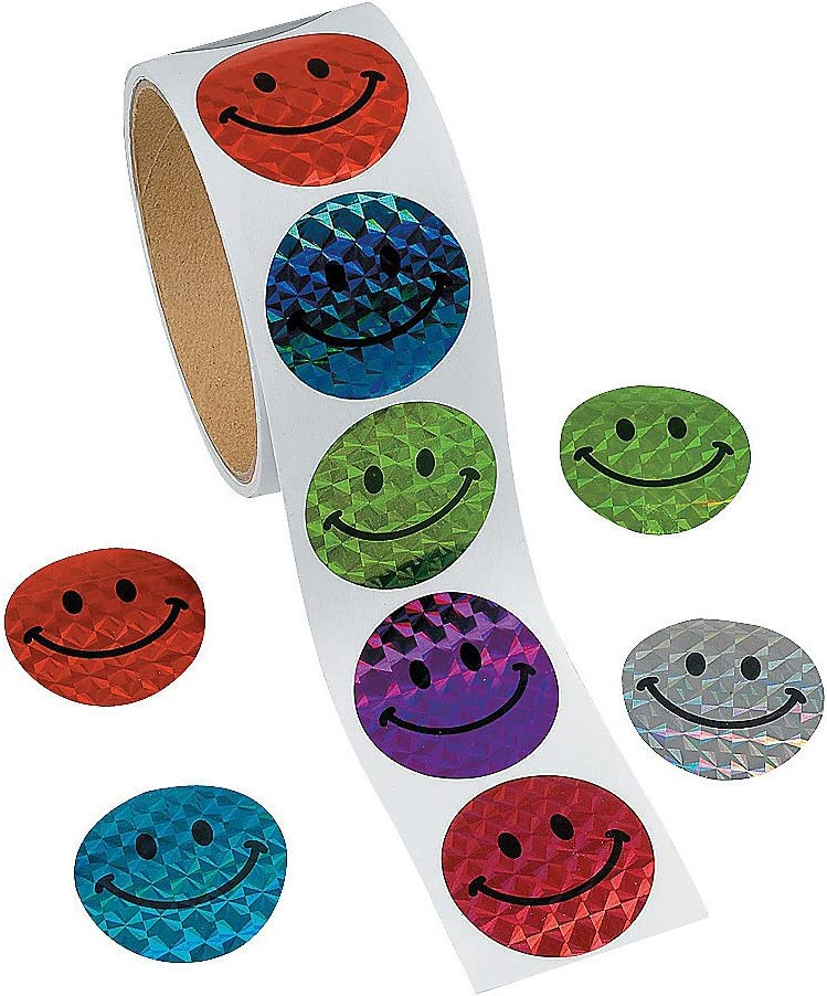 Fun Express - Prism Smile Face Stickers (100pc) - Stationery - Stickers - Stickers - Roll - 1 Piece
