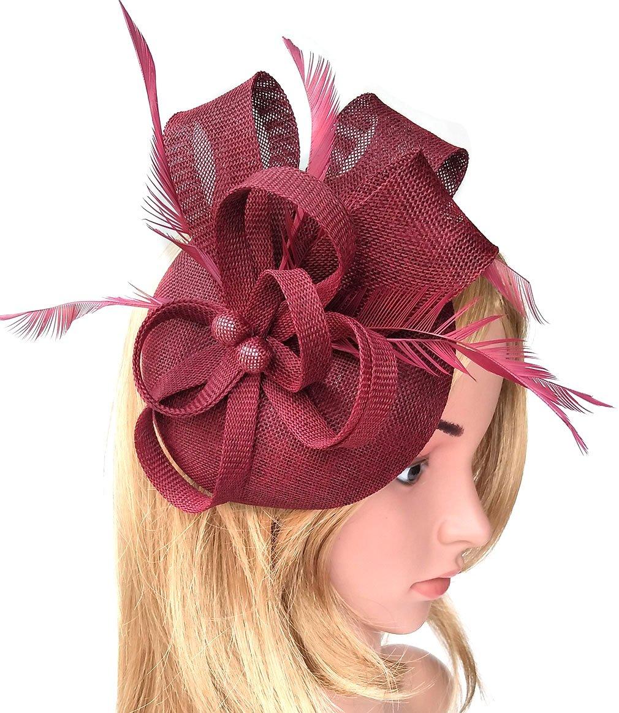 Women's Fascinator Hat Imitation Sinamay Feather Tea Party Pillbox Flower Derby (Burgundy)