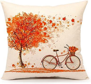 Amazon.com: Autumn Maple Leaf Bicycle Throw funda de ...