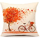 "Autumn Maple Leaf Bicycle Throw Pillow Case Cushion Cover Decorative 18"" x 18""(Happy Fall)"
