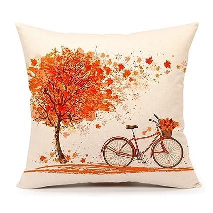Amazon Autumn Maple Leaf Bicycle Throw Pillow Case Cushion Cool Autumn Decorative Pillows