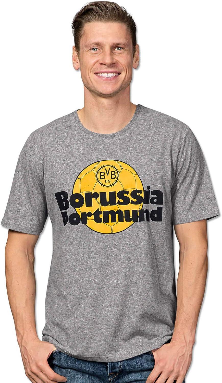 BVB – Camiseta retro para hombre, color gris (gris plateado ...