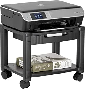 Halter LZ-306A Mini Rolling Printer Cart Machine Stand with Cable Management - Holds Up to 75 Pounds (Black)