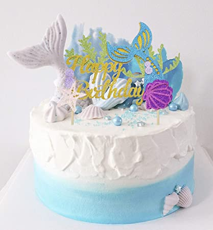 Amazon Com Penta Angel Gold Glitter Mermaid Happy Birthday Cake