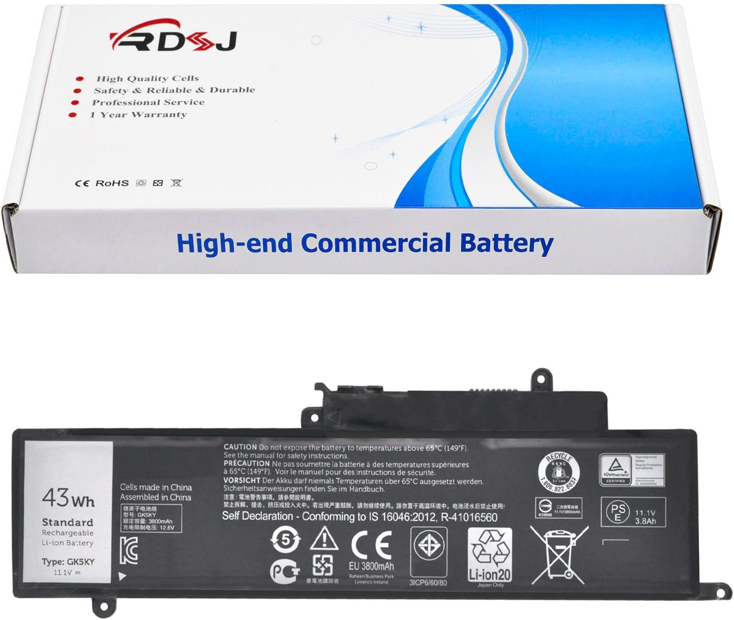 GK5KY 11.1V 43Wh Battery for Dell Inspiron 13 7347 13-7352 3147 3000 11-3152 Series 04K8YH 92NCT 092NCT 4K8YH P20T