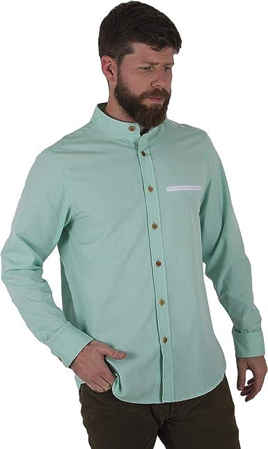 Züell - Camisa para Hombres Manga Larga Slim Fit con Cuello Mao Mandarín - Corte Ajustado y Botones Estilo Casual: Amazon.es: Ropa y accesorios
