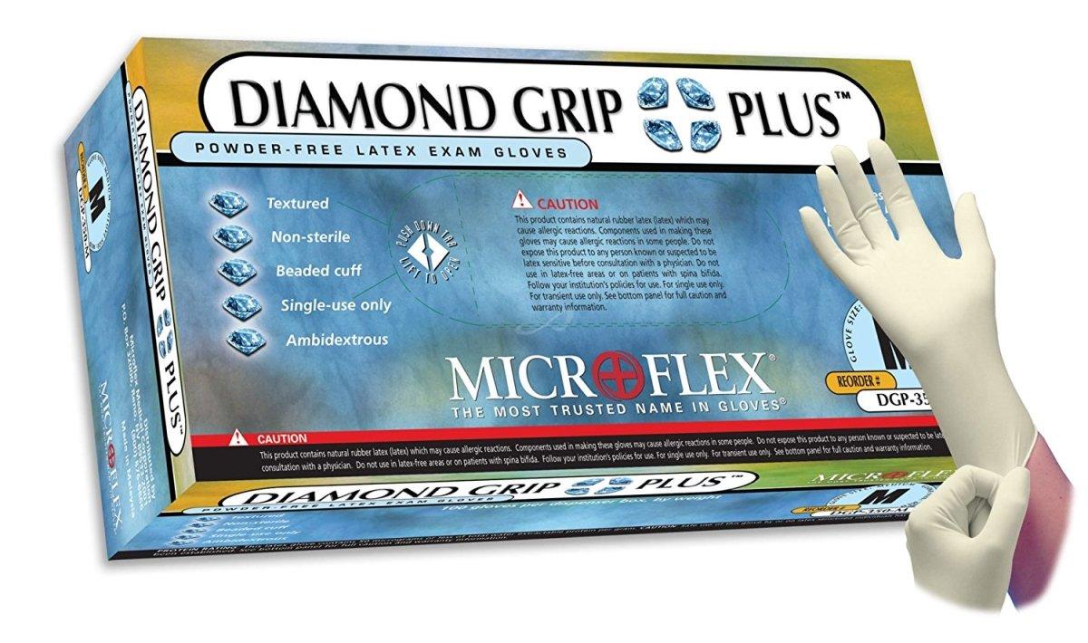 Diamond Grip Plus Latex Exam Gloves by Microflex