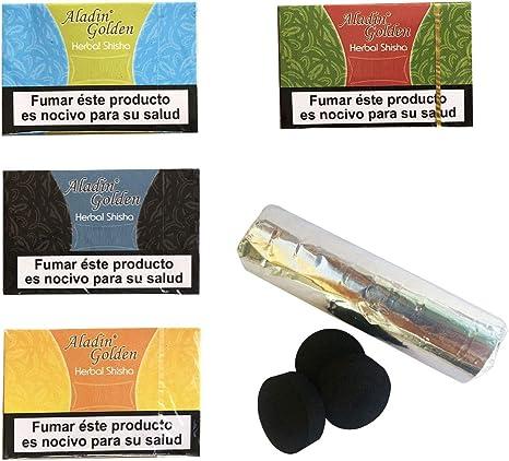 Outletdelocio. Pack 4 Hierba para cachimba Shisha sabores Fresa, Piña, Sandia y Mojito + Pastillas Carbon cachimba. 58324