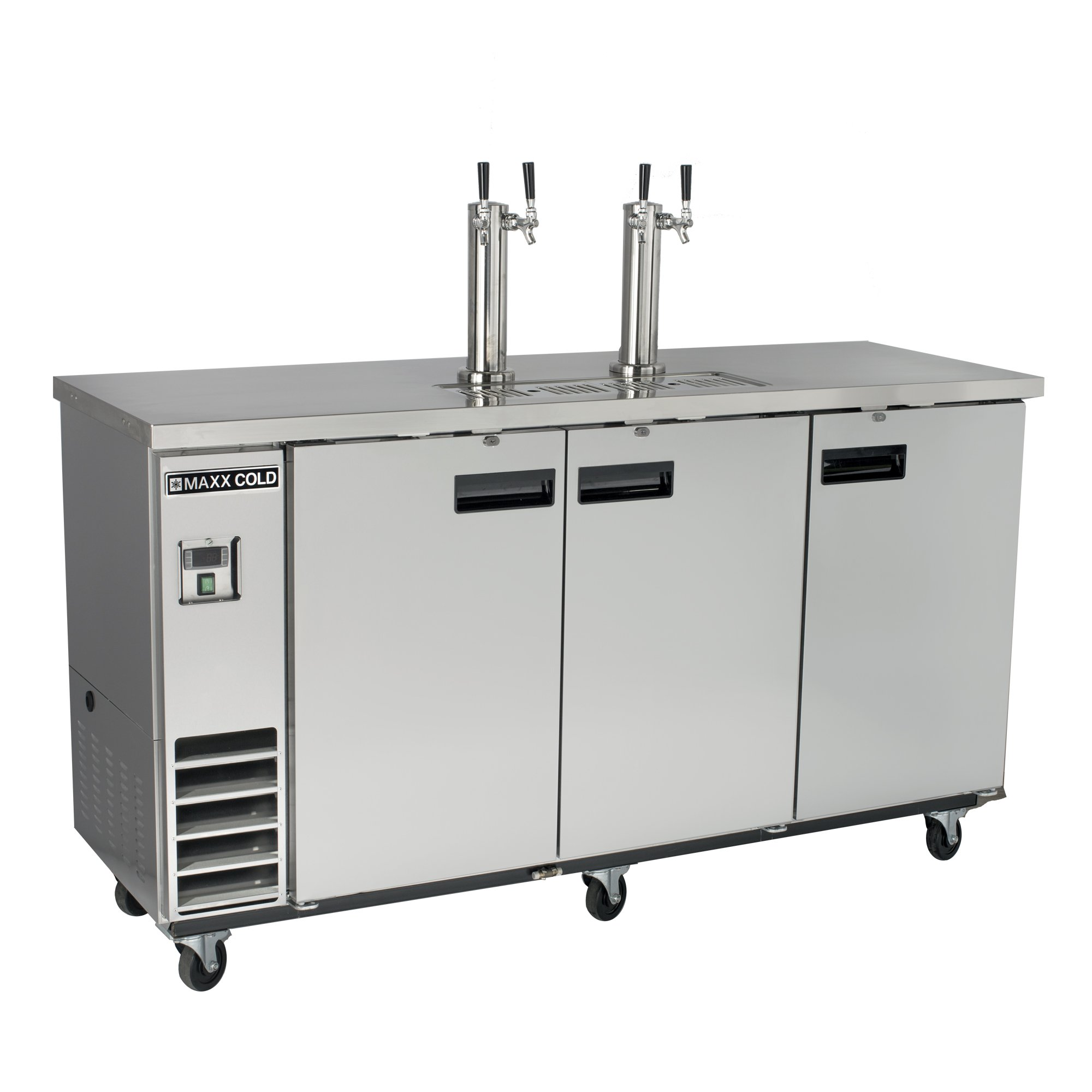 Maxx Cold MXBD72-2S Commercial Stainless Steel NSF Bar Direct Draw Kegerator Beer Dispenser Cooler with 2 Towers Taps Holds 2 Half 1/2 Size Keg, 73.1 Inch Wide 17.3 Cubic Feet , Silver