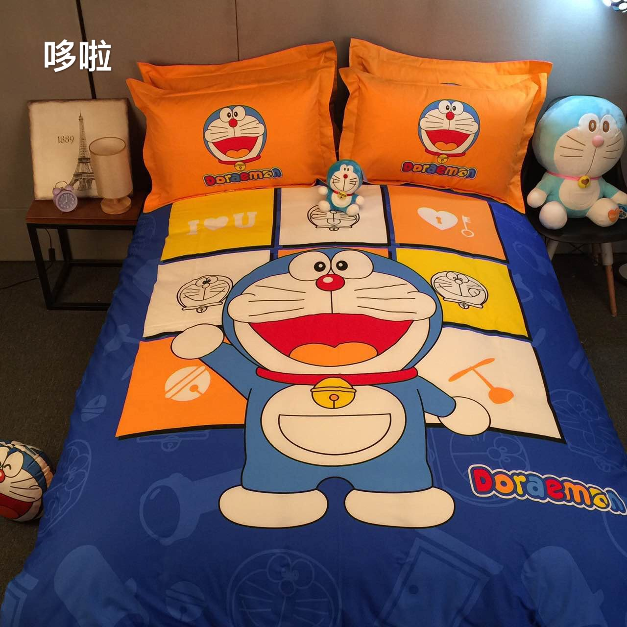 CASA 100% Cotton Kids Bedding Set Boys Doraemon Duvet cover and Pillow cases and Fitted Sheet,4 Pieces,Queen