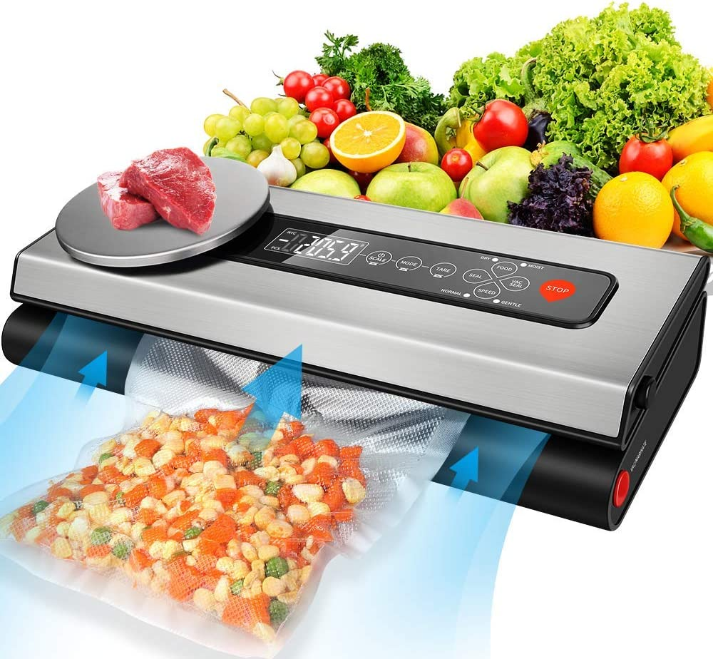Vacuum Sealer Machine, 80Kpa Vacuum Sealer for Food with Kitchen Food Scale & LCD Display, Dry & Moist Food Modes, Automatic Vacuum Air Sealing System For Food Saver