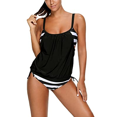Zando Women Athletic Sporty Stripe Tankini with Panty Two Pieces Swimsuit Double up Push up Swimwear Bathing Suits