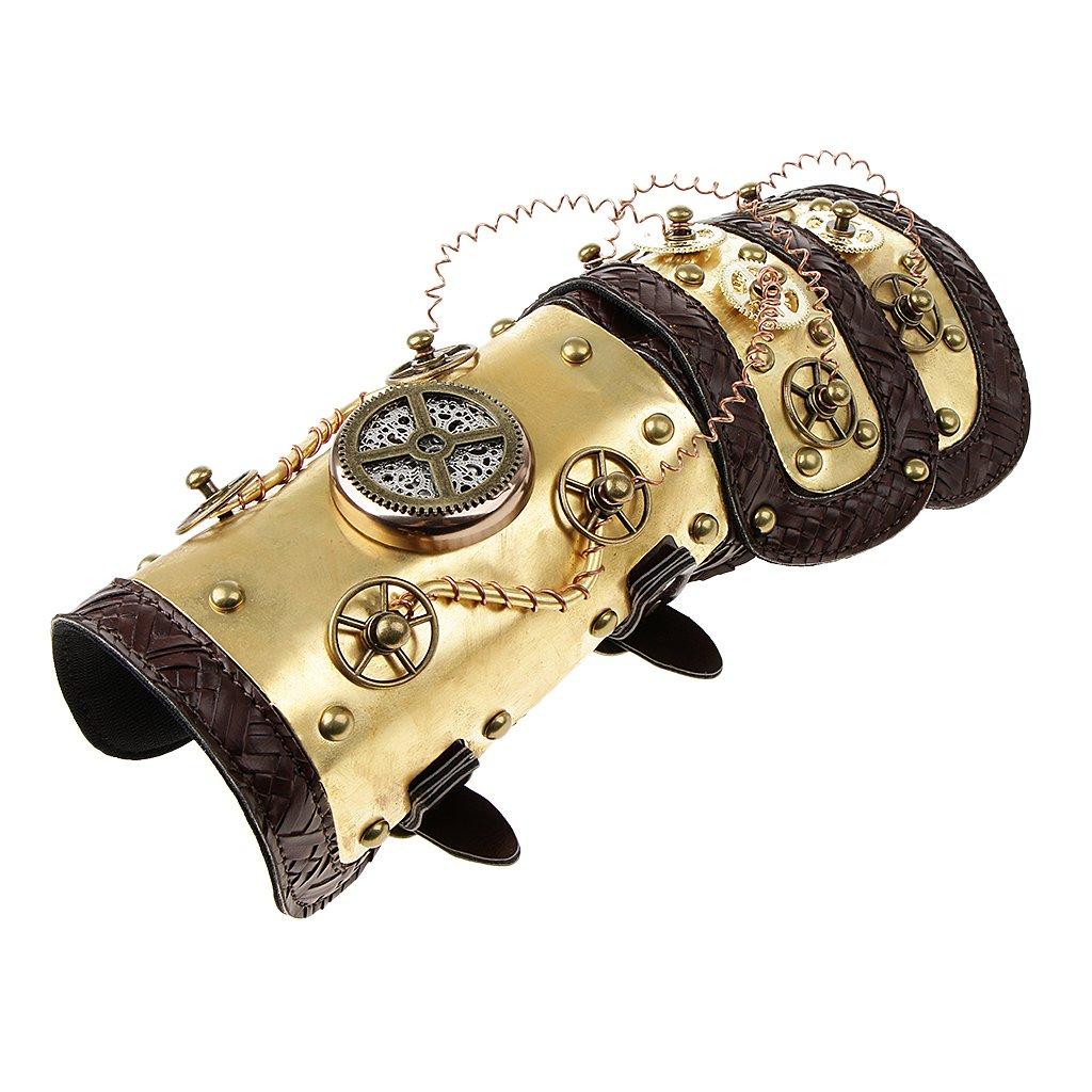 Baoblaze Steampunk Nieten Handschuhe Armband Punk Gothic Kostüm für Damen Herren - Farbe 1