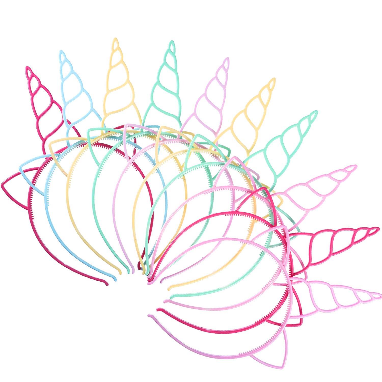 Blulu 18 Piezas de Diadema de Unicornio de Plástico Materiales de ...