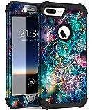 iPhone 8 Plus 手机壳,iPhone 7 Plus 手机壳,Hocase 重型防震保护硬塑料+硅胶混合保护套适用于 iPhone 7 Plus/iPhone 8 Plus4351589971 Mandala in Galaxy