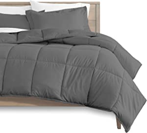 Bare Home Comforter Set - King/California King - Goose Down Alternative - Ultra-Soft - Premium 1800 Series - Hypoallergenic - All Season Breathable Warmth (King/Cal King, Grey)