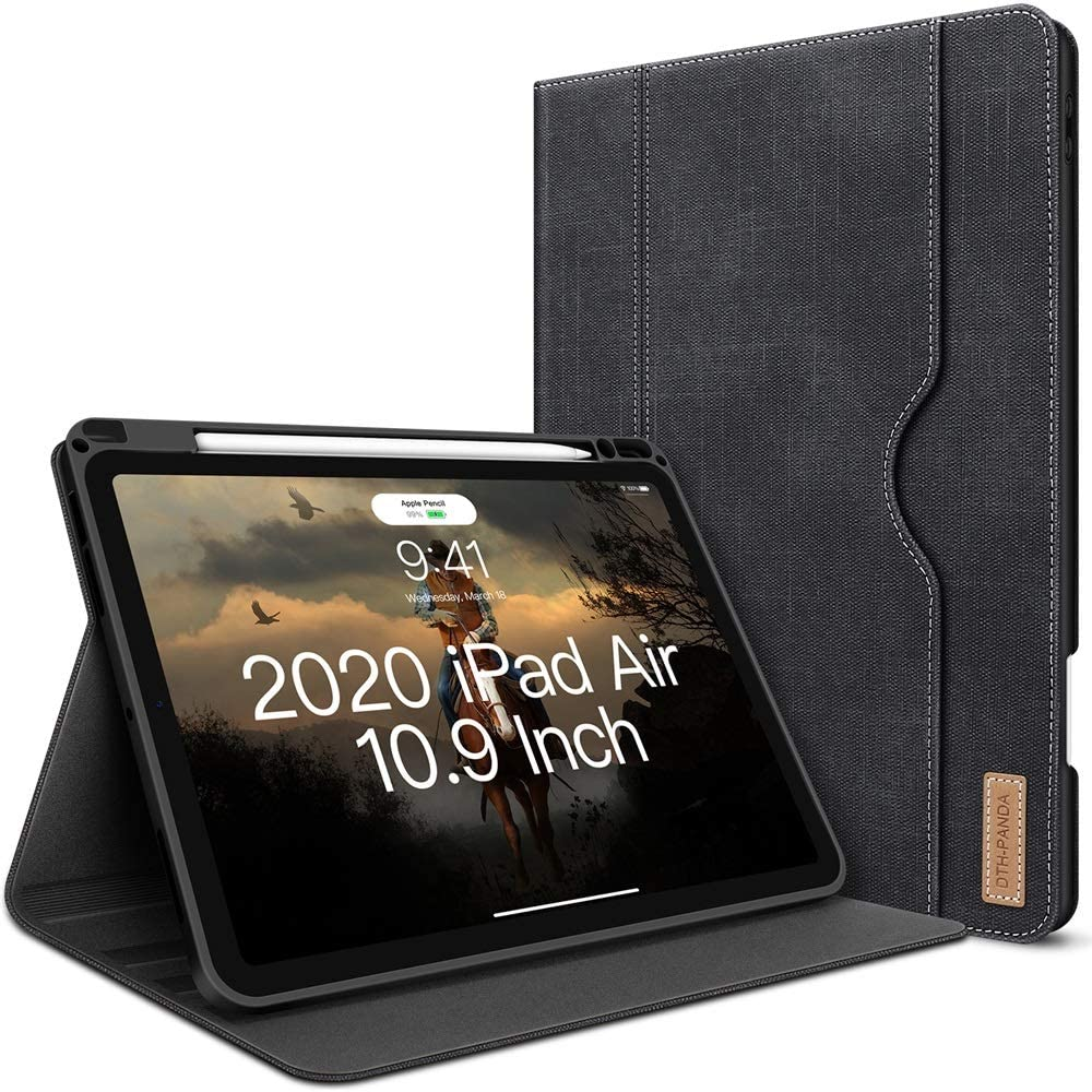 iPad Air 4 Case 2020 iPad Air 4th Generation 10.9 Inch Case W Pencil Holder PU Leather Folio Stand Smart Cover with Pocket Auto Sleep/Wake[Supports Wireless Charging] (Crow Black)
