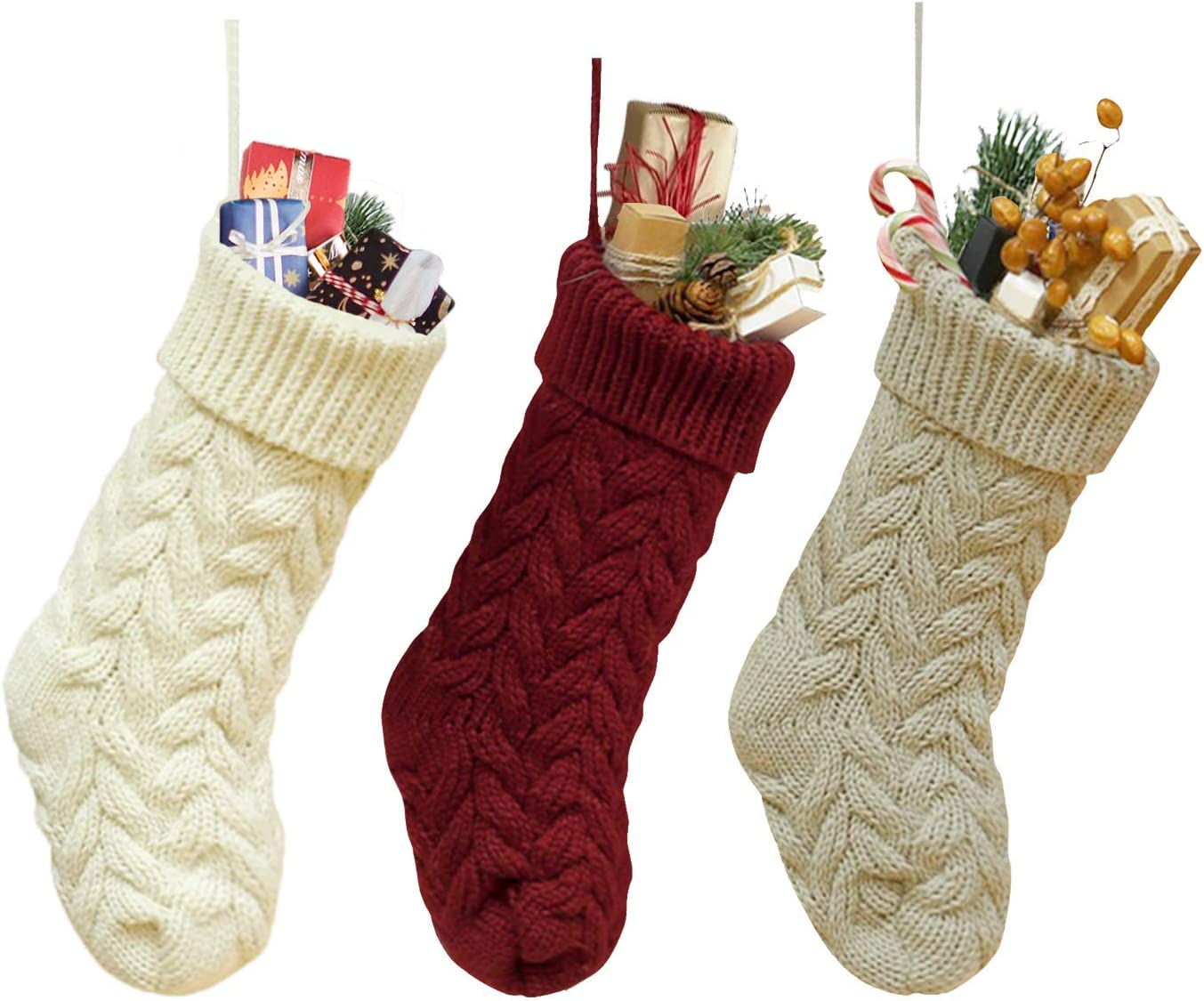 Dailybella 3 Pack Classic Christmas Knit Stockings 14