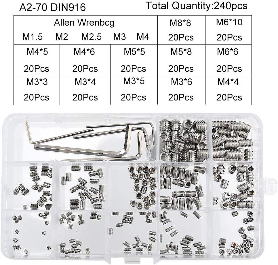 Vis sans t/ête ensemble de vis Allen /à t/ête hexagonale de 240 PCS M3 M4 M5 M6 M8 avec 5 petites cl/és Allen M1.5 M2 M2.5 M3 M4 Kits de fixations pour lassortiment en acier inoxydable