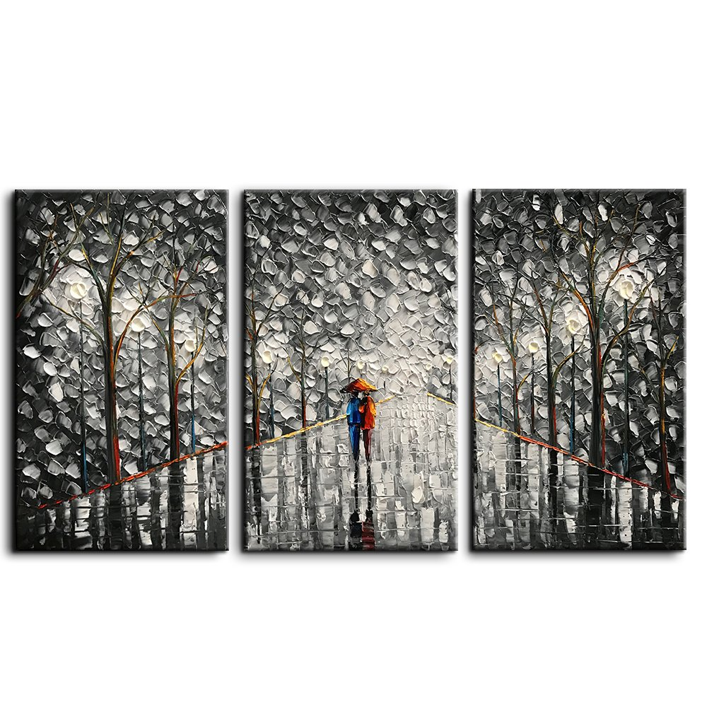 Amazon com baccow 3d wall art black art painting for walls 20303 oil paintings framed hand painted abstract wall art for living room paintings