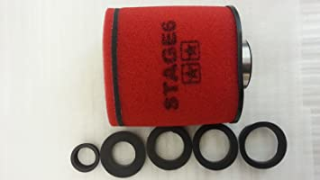 Jinling gluft Filtro Stage6Grande, de Doble Capa Airbox Rojo, 28mm + 35mm + 42mm + 45mm + 49mm + 55mm Conector