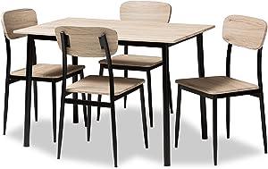 Baxton Studio Honore Mid-Century Modern Light Brown Wood Finished Matte Black Frame 5-Piece Dining Set